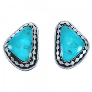 Navajo Sterling Silver Turquoise Post Earrings BX119024
