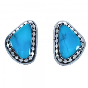 Native American Sterling Silver Turquoise Post Earrings BX119026
