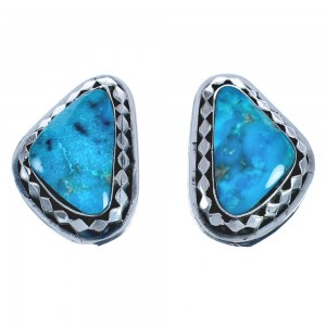 American Indian Sterling Silver Turquoise Post Earrings BX119027