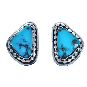 Navajo Authentic Sterling Silver Turquoise Post Earrings BX119029
