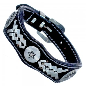 Native American Star Leather Authentic Sterling Silver Bracelet RX118903