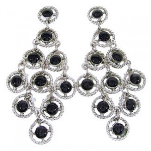 Jet Sterling Silver Chandelier Earrings OS61124