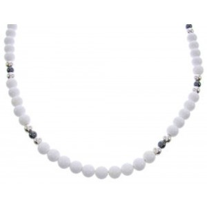 Hematite White Agate And Sterling Silver Native American Bead Necklace RX102059