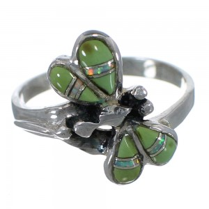 Southwest Turquoise Opal Inlay Genuine Sterling Silver Dragonfly Ring Size 7 RX98598