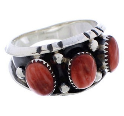Red Oyster Shell Southwestern Silver Ring Size 8-3/4 WX37194