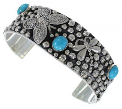Southwest Jewelry Dragonfly Butterfly Turquoise Cuff Bracelet RS75356