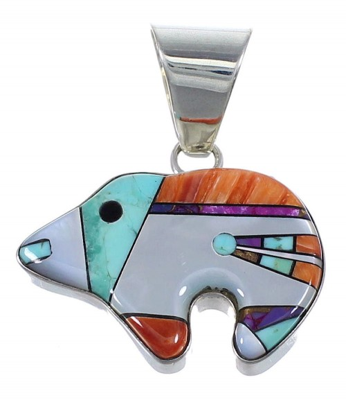 Multicolor Inlay Bear Southwest Authentic Sterling Silver Pendant RX73977
