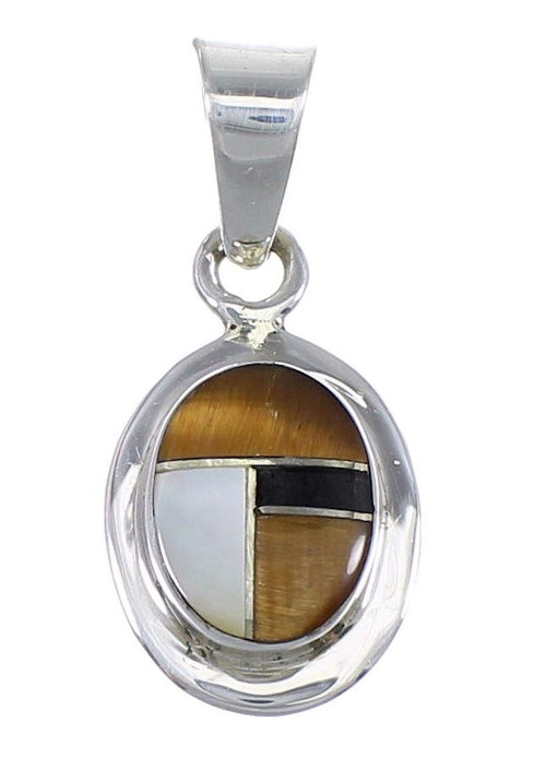Southwestern Silver And Multicolor Inlay Pendant YX70763