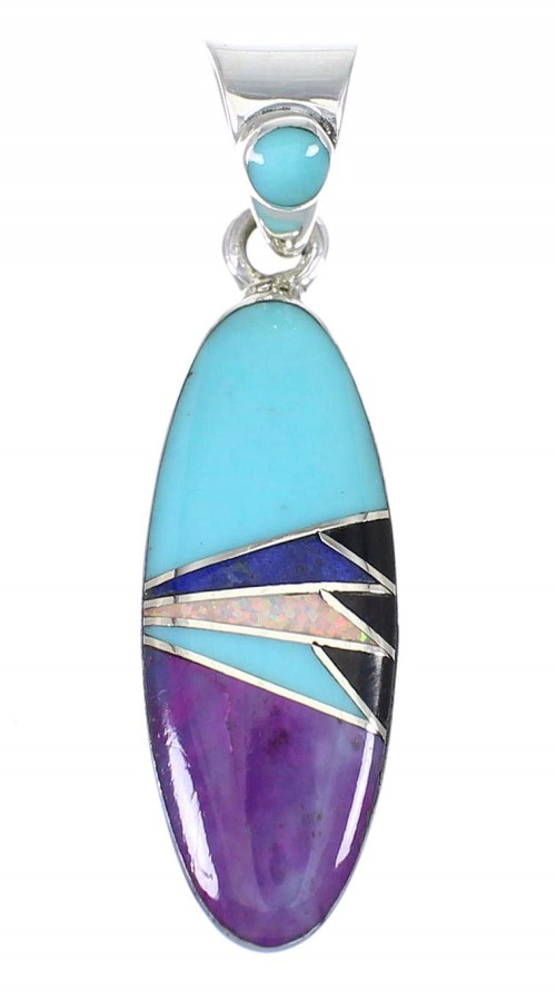 Multicolor And Authentic Sterling Silver Southwestern Slide Pendant YX67837