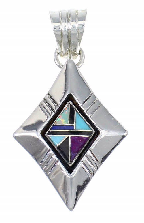 Sterling Silver And Multicolor Inlay Southwest Pendant YX67840