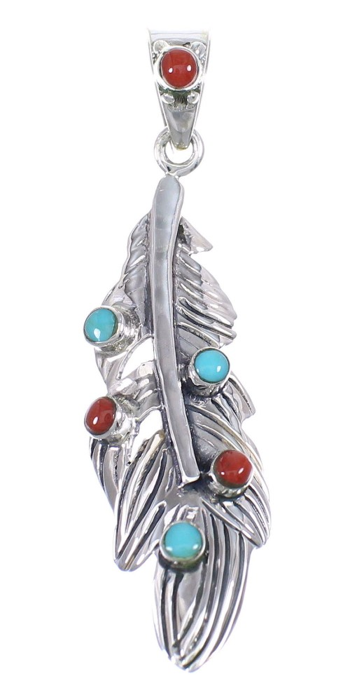 Sterling Silver Turquoise Coral Feather Southwestern Pendant QX70362