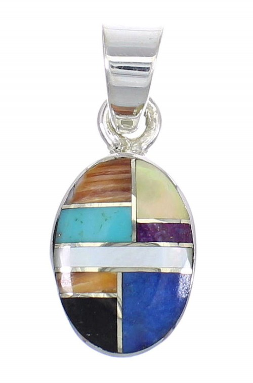 Southwest Multicolor Inlay And Sterling Silver Pendant RX70697
