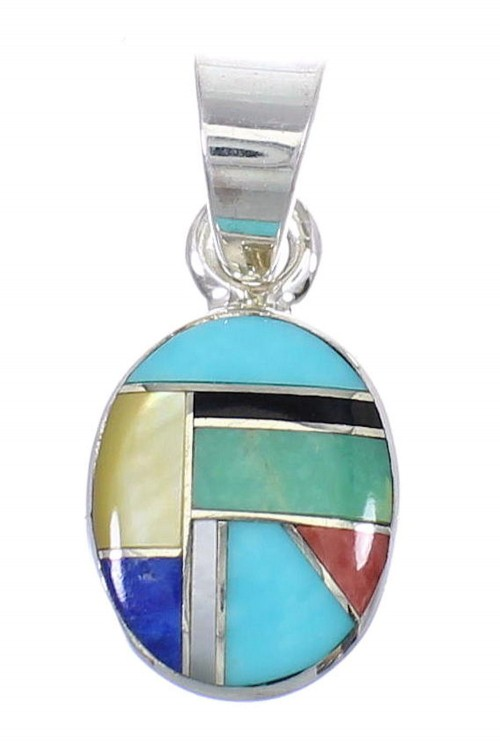 Genuine Sterling Silver And Multicolor Southwestern Pendant YX68184