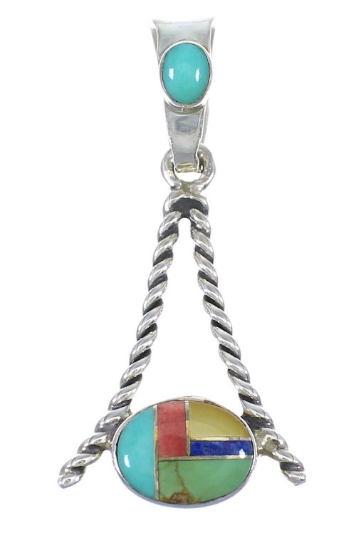 Genuine Sterling Silver And Multicolor Southwestern Slide Pendant YX68188