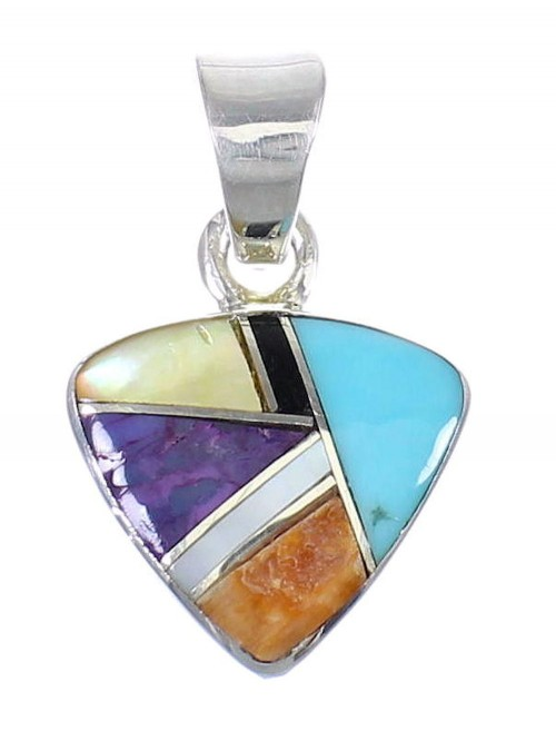 Authentic Sterling Silver And Multicolor Southwestern Pendant YX68191