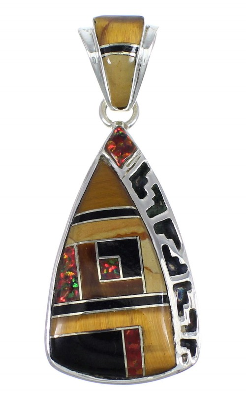 Multicolor Inlay And Sterling Silver Southwestern Pendant YX67900