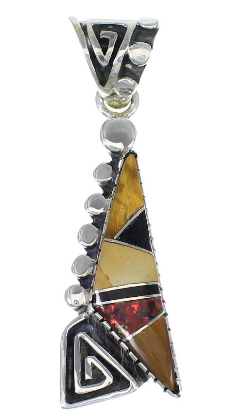 Multicolor Inlay And Sterling Silver Water Wave Southwest Pendant YX67904