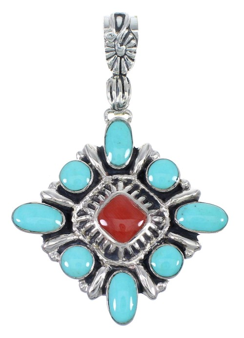 Southwestern Turquoise Coral And Sterling Silver Slide Pendant YX67708