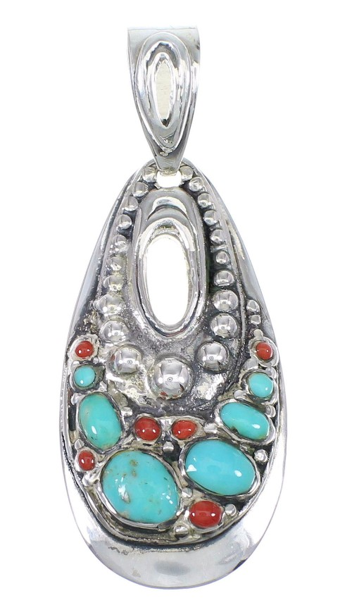 Turquoise Coral And Genuine Sterling Silver Southwest Slide Pendant YX67730