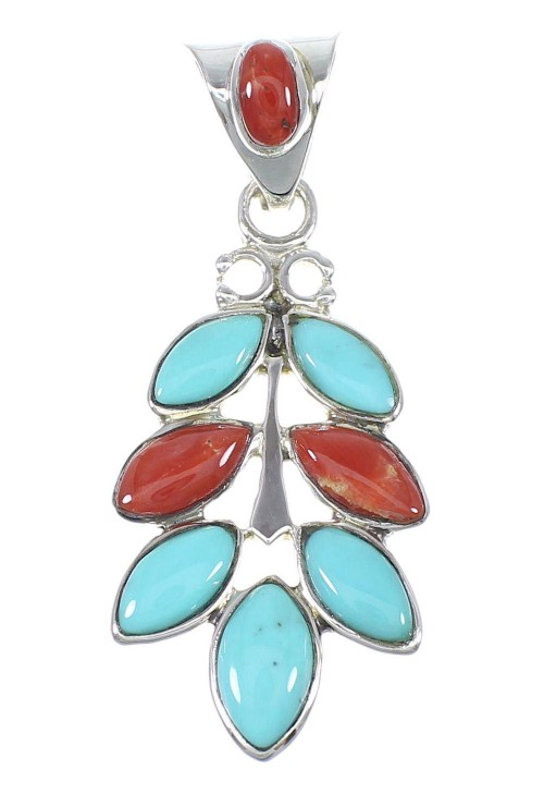 Sterling Silver Turquoise And Coral Southwest Slide Pendant YX67745