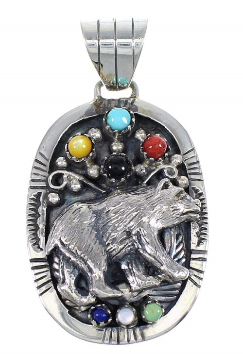 Sterling Silver Multicolor Bear Southwestern Pendant YX67775