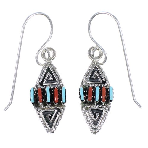 Sterling Silver Turquoise And Coral Water Wave Needlepoint Hook Dangle Earrings YX68082