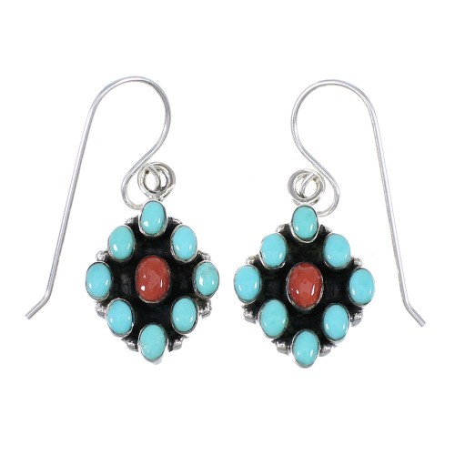 Sterling Silver Turquoise And Coral Southwestern Hook Dangle Earrings YX68113