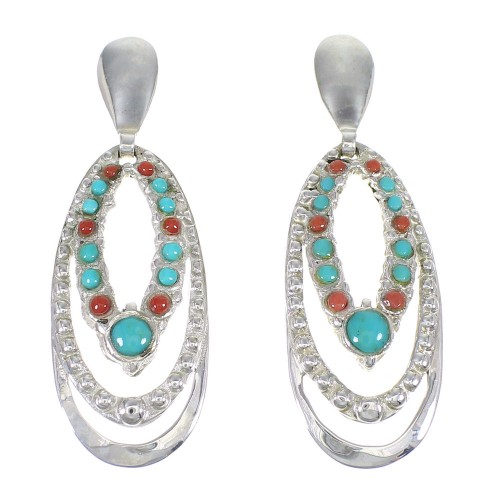 Sterling Silver Turquoise And Coral Genuine Southwest Post Dangle Earrings YX68124