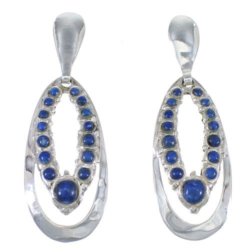 Southwest Sterling Silver And Lapis Post Dangle Earrings YX68310