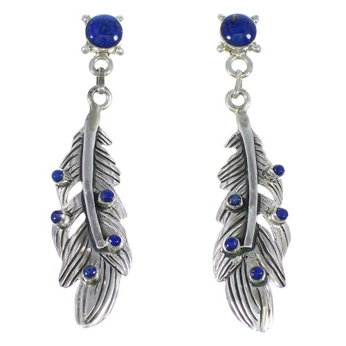 Southwest Sterling Silver And Lapis Feather Post Dangle Earrings YX68324