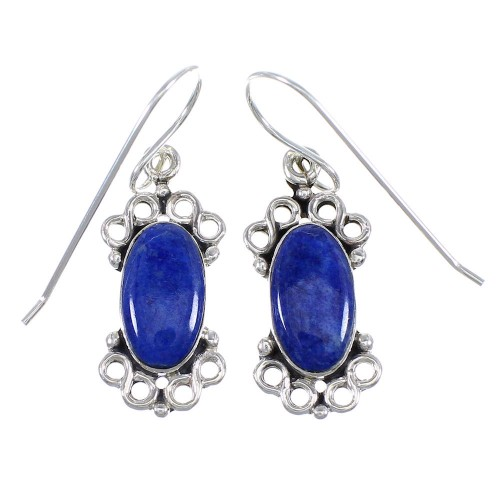 Sterling Silver And Lapis Southwestern Hook Dangle Earrings YX68355