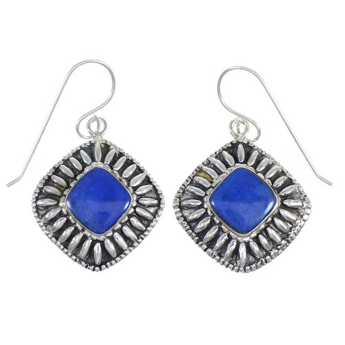 Genuine Sterling Silver And Lapis Southwestern Hook Dangle Earrings YX68373