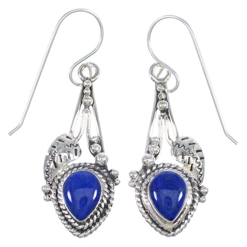 Lapis And Sterling Silver Southwest Hook Dangle Earrings YX68378