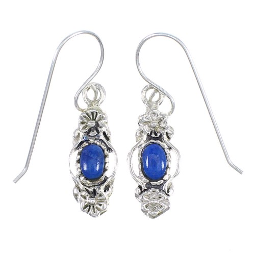 Lapis And Sterling Silver Southwest Flower Hook Dangle Earrings YX68381