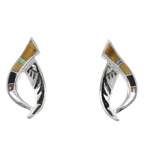 Southwest Sterling Silver Multicolor Post Earrings YX70881
