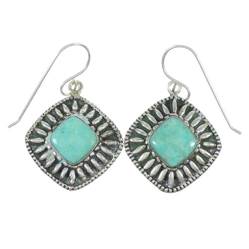 Southwest Authentic Sterling Silver And Turquoise Hook Dangle Earrings YX68555