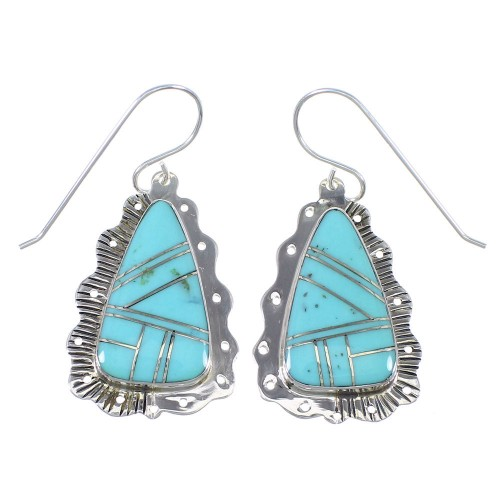 Southwestern Turquoise And Sterling Silver Hook Dangle Earrings YX69723