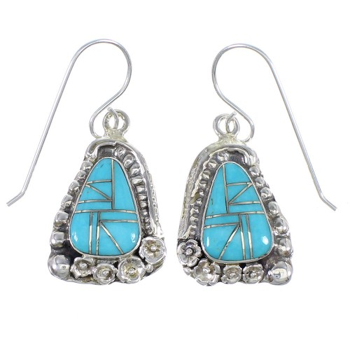 Sterling Silver And Turquoise Southwest Hook Dangle Earrings YX69767
