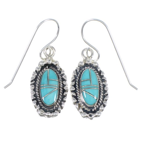 Genuine Sterling Silver And Turquoise Southwestern Hook Dangle Earrings YX69776