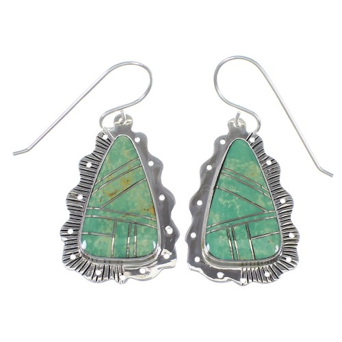 Turquoise And Sterling Silver Southwestern Hook Dangle Earrings YX78970