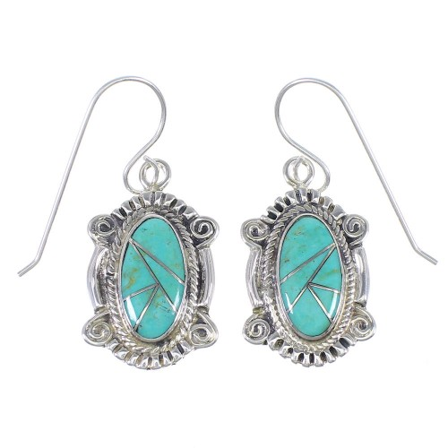 Silver And Turquoise Southwest Hook Dangle Earrings YX78985