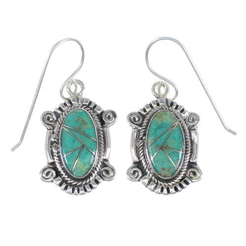 Sterling Silver And Turquoise Southwest Hook Dangle Earrings YX78990