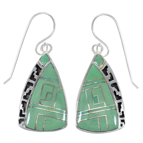 Southwest Turquoise Genuine Sterling Silver Hook Dangle Earrings YX79084