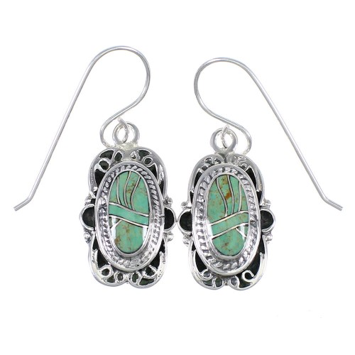 Southwest Turquoise And Genuine Sterling Silver Hook Dangle Earrings YX79096
