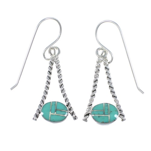Turquoise Inlay And Silver Hook Dangle Earrings YX79129