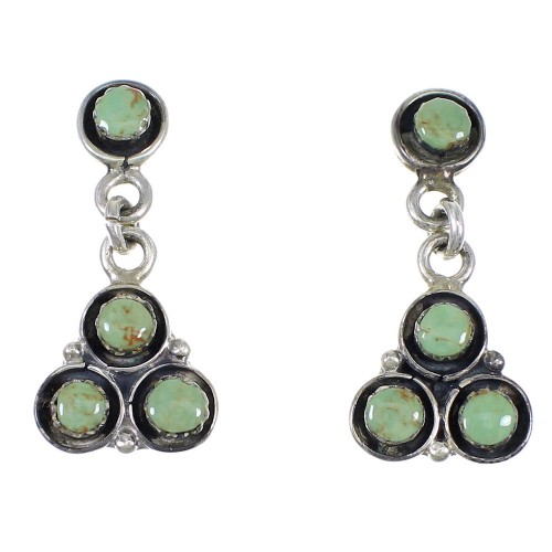 Sterling Silver Turquoise Post Dangle Earrings QX69673
