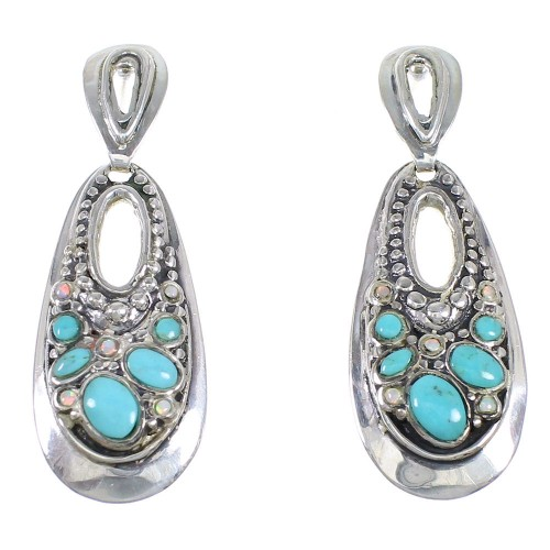 Sterling Silver Turquoise Opal Post Dangle Earrings QX72201