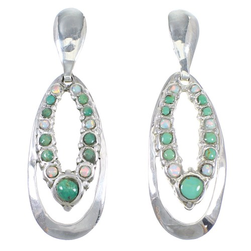 Turquoise And Opal Sterling Silver Southwest Post Dangle Earrings QX81871