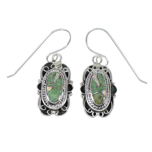Authentic Sterling Silver Southwestern Turquoise Opal Hook Dangle Earrings QX81813