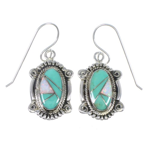 Southwest Turquoise Opal Authentic Sterling Silver Hook Dangle Earrings QX81925